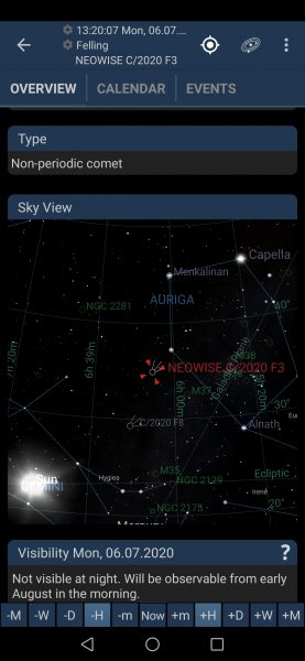 Comet Neowise's location in the night sky